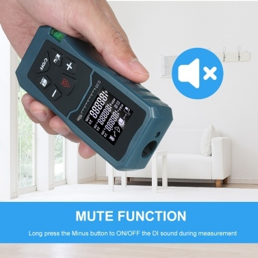 Laser Distance Meter Handheld 1.6-inch LCD Diastimeter Bubble Level Pythagorean Mode Measure Distance Area and Volume (100M)