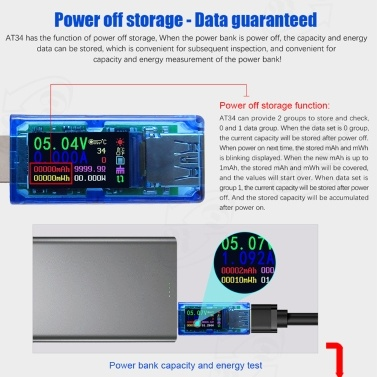 AT34 USB3.0 Color LCD Display Voltage Current Meter Multifunctional USB Tester