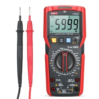 UNI-T UT89XD Digital Multimeter High Accuracy Handheld Mini Universal Meter 6000 Counts LCD Display True RMS Measure AC/DC Voltage Current Resistance Capacitance LED Test Frequency Diode Tester Flashlight