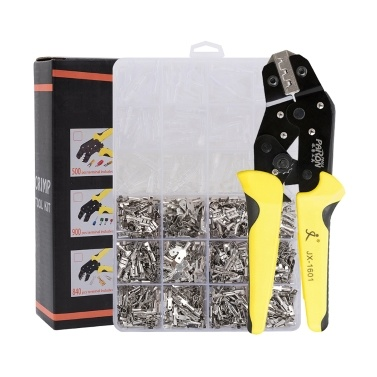 Wire Terminals Crimping Tool Insulated Ratcheting Crimper Kit of AWG 26-16 with 840PCS Male and Female Spade Connectors