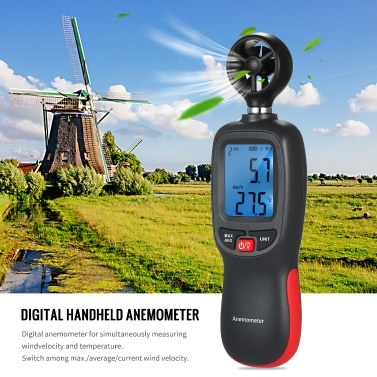 Digital Anemometer Thermometer Handheld Pocket Wind Speed Meter Air Velocity Temperature Tester with Max/Data Hold Mode