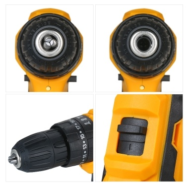 2-Gang-Akku-Bohrschrauber Schlaghammer 2 Batterien Schnellladegerät 25 + 1 Kupplung Max. 40 Nm Drehmoment Variable Drehzahl mit LED zum Bohren von Wänden Ziegel Metalle