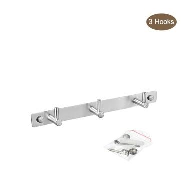 Wall Mounted Hook Heavy Duty Stainless Steel Coat Rack Hanger with 3 Hooks for Home Bedroom Kitchen Bathroom Garage