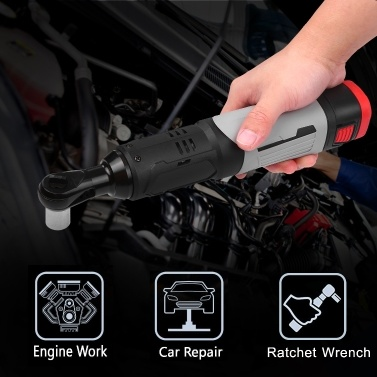 Cordless Electric Ratchet Wrench 3/8inch 80N.M 240RPM 18V Power Ratchet Wrench Kit with 2 Pack 6.0Ah Lithium-Ion Battery and a Fast Charger 6pcs Metric Socket