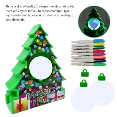 Christmas Tree Ornament Decorating Kit White Balls Painting Craft Xmas Decoration for Children 2 Types Optional
