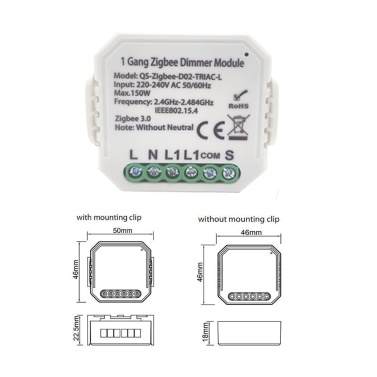 Tuya ZigBee 1 Gang/2 Gang (Optional) Dimmer Module Switch Module Light Control Voice Control Intelligent Home Compatible with Alexa Google Home