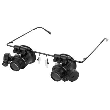 20-кратные увеличительные очки Головная лупа со светодиодной подсветкой Головная лупа Бинокулярная лупа для ремонта часов без помощи рук Электронный инструмент