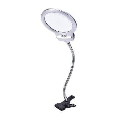Neue beleuchtete Clip-on Tisch Top Schreibtisch LED Lampe Lesung 2.5x 5x Lupe Großes Objektiv Lupe mit Klemme