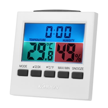KKmoon LCD Digital Indoor Thermometer Hygrometer Temperature Humidity Meter Clock Backlight Snooze Alarm Clock Measurement u2103/u2109 Max Min Value Display