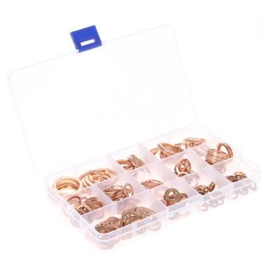 280 stücke M5-M20 Kupfer Unterlegscheiben Dichtungssatz Flache Dichtring Dichtungssortiment Kit mit Box 12 Größen für Hardware Zubehör