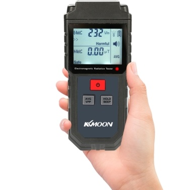 KKmoon Portable Handheld Digital LCD Electromagnetic Radiation Tester Electric Field Magnetic Field Dosimeter Detector Sound Light Alarm