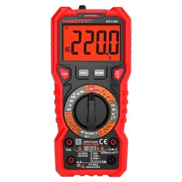 HABOTEST HT118C Digitalmultimeter Manueller Bereich Multimeter 6000 Zähler Echter Effektivwert Messung der AC / DC-Spannung Stromwiderstand Kapazität Frequenz Temperatur NCV-Testdiode Batterietest mit LCD-Taschenlampe