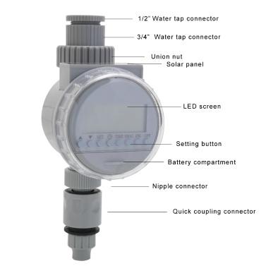 White Solar Power LCD Screen Garden Irrigation Control Auto Water Saving Irrigation Controller Digital Watering Timer