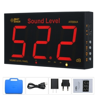 SMART SENSOR AR884A Schallpegelmesser mit großem LCD-Bildschirm Digitaler Schallpegelmesser zur Wandmontage Digitaler Geräuschmesser Dezibel-Überwachungstester Geräuschvolumen-Messgerät 30-130 dB Messbereich