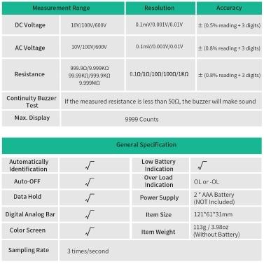 FUYI FY108S 9999 Zählt den tatsächlichen Effektivwert des digitalen Multimeters Handflächengröße Automatisches Multimeter Mini-Universalmessgerät Hochpräziser Elektriker Multifunktionales digitales Multimeter Messen des Stroms AC / DC-Spannungsdurchgangssummer