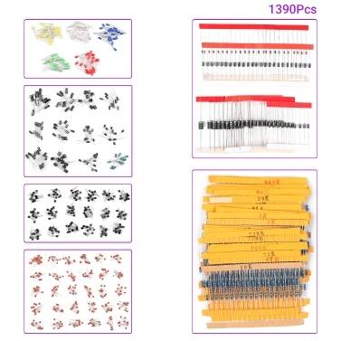 1390Pcs Electronic Component Kit 3mm LED Diodenwiderstand Transistor Elektrolytkondensator Keramikkondensator Kit