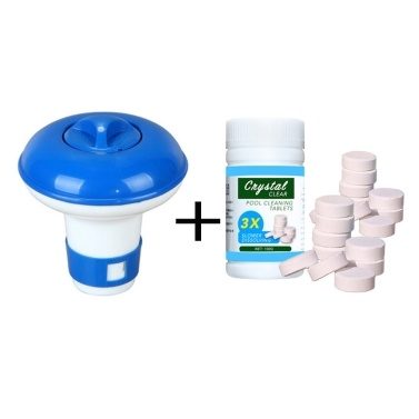 Flutuador de limpeza de piscina com kit de dispensador de cloro de 100pcs comprimidos para piscina