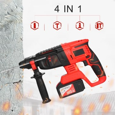 21V Brushless Cordless Rotary Hammer Drill 1 Inch SDS Plus Variable Speed Impact Hammer Kit 2x20000mAh Battery 4 Functions Variable-Speed Adjustable Handle with Storage Case