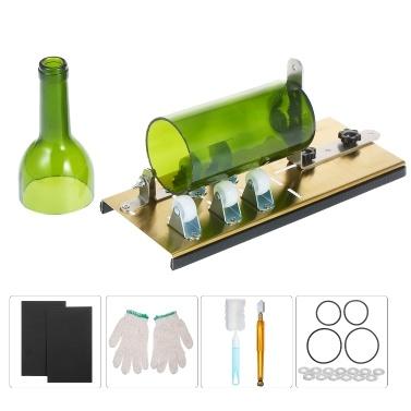 Kit de cortador de botellas de vidrio, cortador de botellas, máquina de bricolaje para cortar botellas redondas ovaladas y frascos de albañil con guantes, papel de lija, anillo de goma y lápiz, cortador de vidrio para botellas, arte de bricolaje