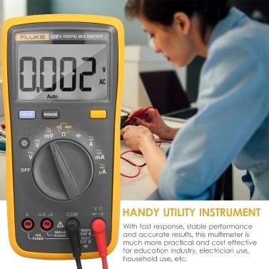 FLUKE 12E+ 4000 Counts Multimeter Digital Multimeter Handheld Voltmeter Portable Ammeter Voltage Meter Universal Meter Measuring AC/DC Voltage Current Resistance Capacitance Continuity Diode