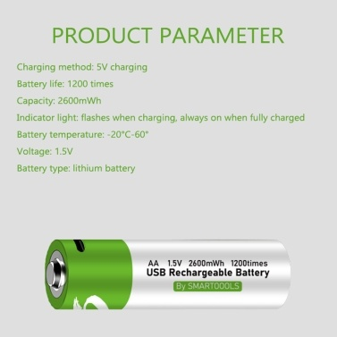 Type-C Port Rechargeable AA Lithium Battery 1.5V Battery 2600mWh High Capacity Constant Voltage Quick Recharge Environmental Friendly Utility Reusable Battery for Electric Toy Doorbell