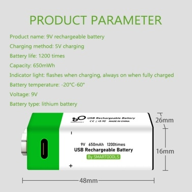 Type-C Port Rechargeable 9V Lithium Battery 650mAh High Capacity Constant Voltage Quick Recharge Environmental Friendly Utility Reusable Battery for Microphone Guitar