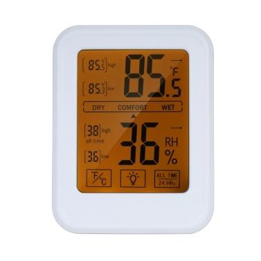 Termometro ad alta precisione Igrometro Termoigrometro digitale con touch-screen Stazione meteorologica a parete con retroilluminazione ℃ / / Commutabile su tutti i tempi / Temperatura minima massima 24 ore Umidità Comfort Promemoria Funzione