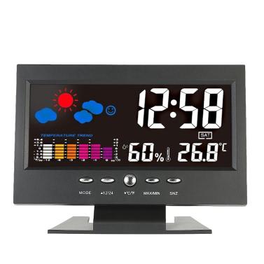 ° C / ° F Innentemperatur Feuchtigkeitsmesser Uhr