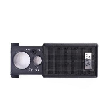 Pocket LED Vergrößerungsglas Schmuck Lupe Mikroskop 30X 60X Portable Slide Out Lupe UV Licht Tweeze
