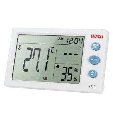 UNI-T A10T u00b0C/u00b0F Portable Mini Temperature Humidity Meter LCD Digital Thermo-Hygrometer Psychrometer Tester Alarm Clock Function