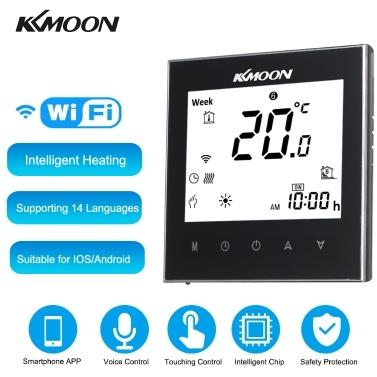 KKmoon Digitaler Warmwasserbereitungsthermostat mit WiFi-Verbindung und Sprachsteuerung Energiesparende AC 95-240 V 5 A Touchscreen-LCD-Anzeige Raumtemperaturregler Kompatibel mit Amazon Alexa / Google Assistant / IFTTT