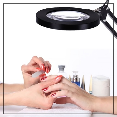 LED Lighting 5X Magnifying Lamp with Clamp Hands-free Magnifying Glass Desk Lamp Swivel Arm Adjustable USB-powered Lamp Magnifier 3 Modes Dimmable LED Lamp with Magnifier