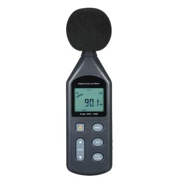Medidor digital de nivel de sonido Pantalla LCD Medidor de ruido 30dB ~ 130dB Instrumento de medición de ruido Medidor de DB Medidor de ruido Herramienta de medición de volumen de ruido Probador de monitoreo de decibelios