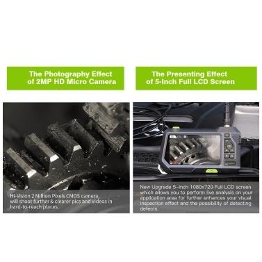 Industrielle Endoskop-Inspektionskamera mit halbsteifer 3500-mAh-Batterie und 5-Zoll-HD-LCD-Bildschirm-Endoskopkamera