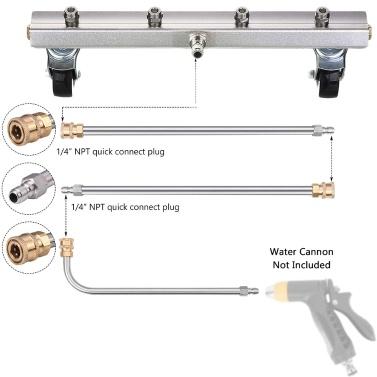 Hochdruckreiniger-Unterwagenreiniger, unter dem Wasserbesen des Autos, 1/4 Zoll-Stecker zum schnellen Trennen, mit 4 Düsen, die den Wasserbesen reinigen