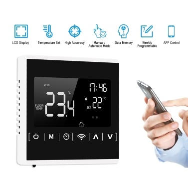 MEIH 85-250V Wi-Fi Smart Thermostat Weekly Programmable Thermostat APP Control Backlight LCD Boiler Heating Temperature Controller Overheat Protection Anti-freeze Function u2103/ u2109 Switchable
