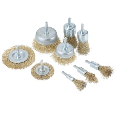 6pcs Brass Coated Wire Brush Wheel and Cup Brush Set with 1/4-Inch Shank 6 Sizes Coated Wire Drill Brush Set Perfect For Removal of Rust Corrosion Paint Universal Fit for Power Drill