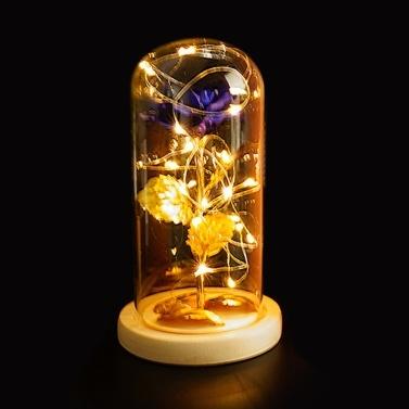 Glass Cover Internal Rose DIY Decoration Lamp Romantic LED Small Night Light Valentine
