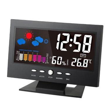 u00b0C/u00b0F Multifunctional Indoor Colorful LCD Digital Temperature Humidity Meter Weather Station Clock Thermometer Hygrometer Calendar Temperature Trend Alarm Comfort Level Weather Forecast Vioce-activated Backlight USB Cable