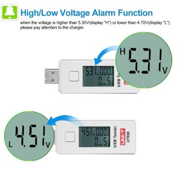 UNI-T UT658 Digital LCD USB Voltage Current Meter U Disk Voltmeter Ameter Charging Capacity Tester DC3-9V 0-3A