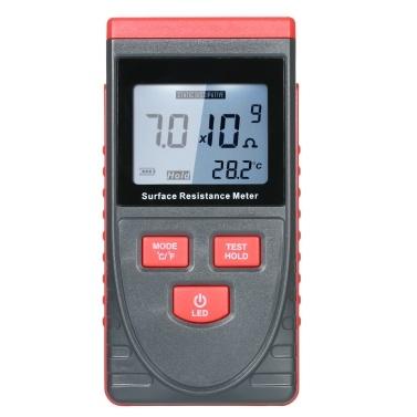 Handmessgerät für die Oberflächenwiderstandsmessung Antistatischer Isolationswiderstandstester mit LCD-Anzeige Temperaturmessung und Datenhaltefunktion