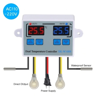 Dual Digital Thermostat Temperature Controller Two Relay Output Thermoregulator for incubator Heating Cooling XK-W1088 AC110-220V