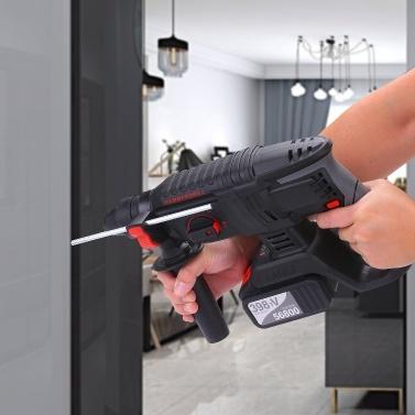 21V Hochleistungs-Bohrhammer mit 4 Funktionen, 1 Zoll SDS-plus, verstellbarer Griff, 980 U / min, Abbruchkit für kabellose Bohrer mit zwei 4,0-Ah-Batterien und Tragebox
