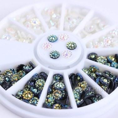 3D Nail Art Strass Glitzer Perlen Acryl Tipps Dekorationen Räder Maniküre (12 Muster Gold Metall Nieten)