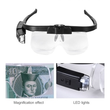 Rechargeable Eye Loupes Jewelry Loupes Eyeglass Style Hands-Free Magnifying Glass Magnifier Multiple Magnifications with Lights
