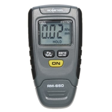 RICHMETERS RM660 Digital Paint Coating Thickness Gauge Fe/NFe 0-1.25mm LCD Display Switchable Units mm/mil