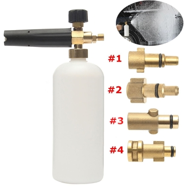 "Adjustable Car Wash Snow Foam Lance Pressure Nozzle Soap Bottle Gun 1/4"" Adapter for Karcher Bosch Lavor Nilfisk Bubble Foaming Washer"