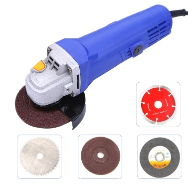 Kkmoon High Power Household Angle Grinder Cutting Machine Hand-held Grinder Waxing Polishing Electric Tool Blue 100mm