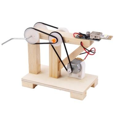 Kit de construção de gerador de mão de madeira DIY Conjunto de material de modelo de gerador manual
