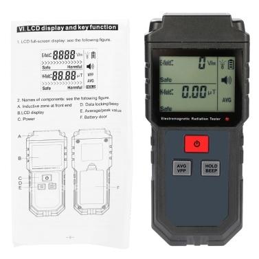 Tragbarer digitaler LCD-Handprüfgerät für elektromagnetische Strahlung Magnetfelddosimeter mit Ton- und Lichtalarm